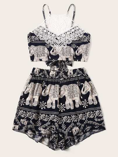 Elephant Print Lace Panel Tie Back Top With Shorts