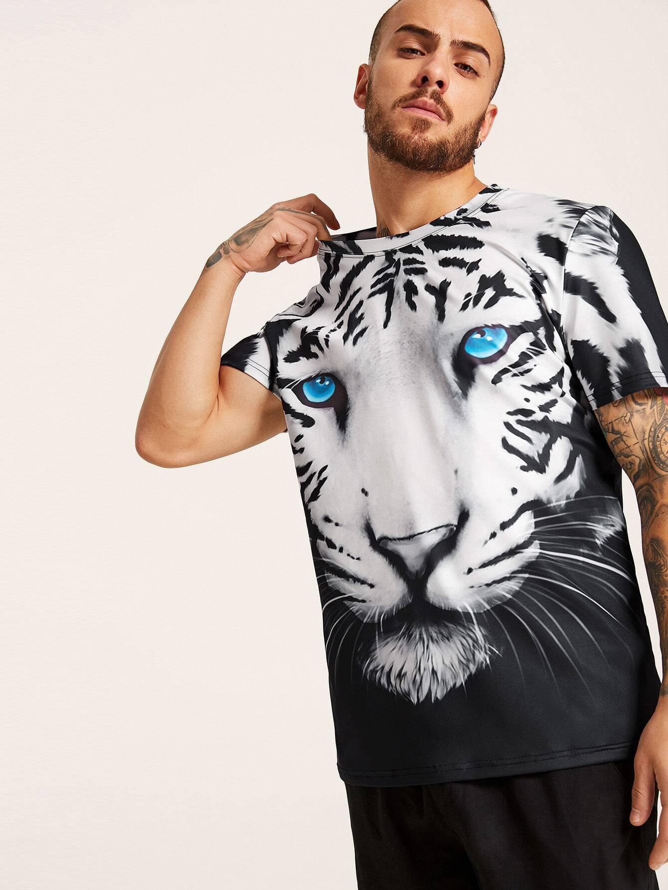 Фото - Мужская футболка с принтом 3D тигра от SheIn цвет чёрнобелые