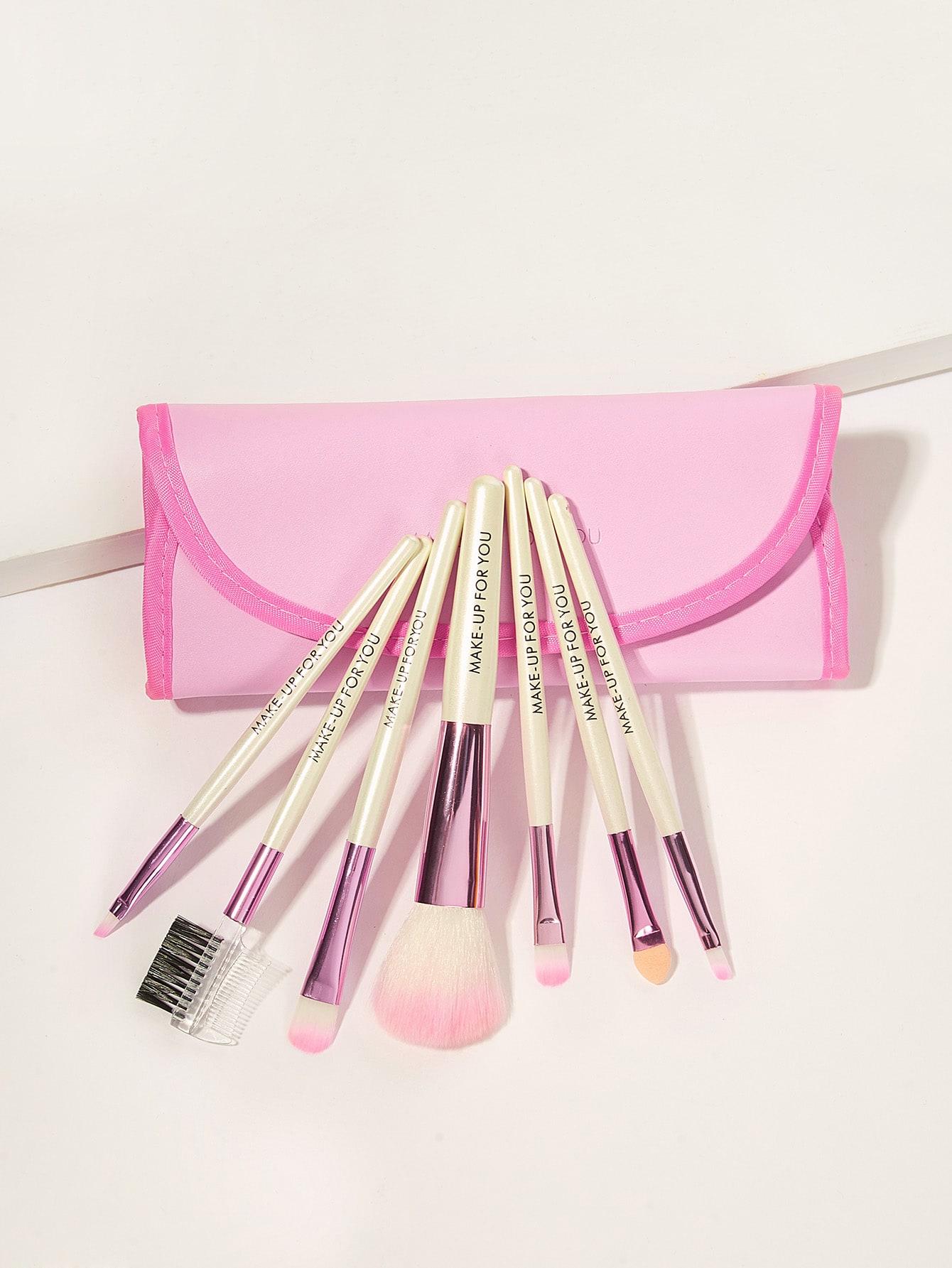 Купить Набор мягких кисточек для макияжа с мешочком 8 шт., null, SheIn