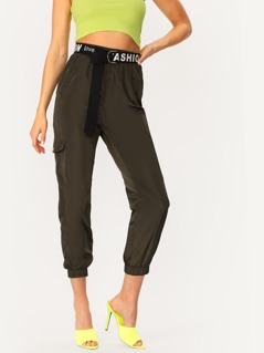 Flap Pocket Side Elastic Hem Belted Crop Pants