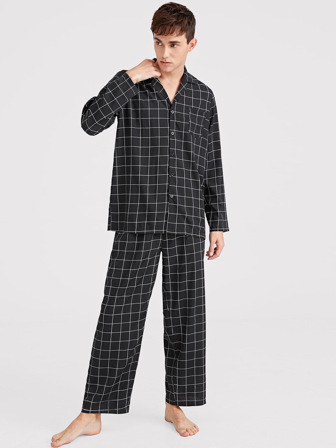 Фото - Мужской пижамный комплект в клетку с пуговицами от SheIn цвет чёрные