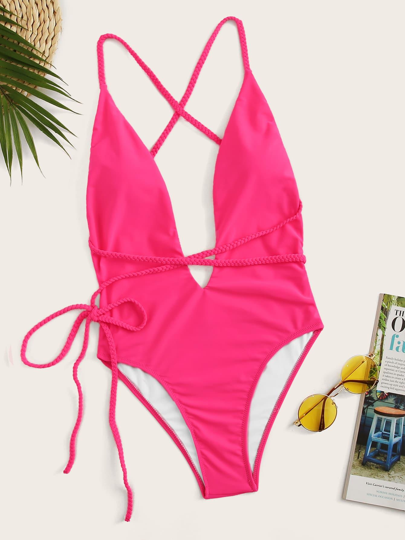 Фото - Слитный купальник с открытой спинкой и u-образным вырезом от SheIn розового цвета