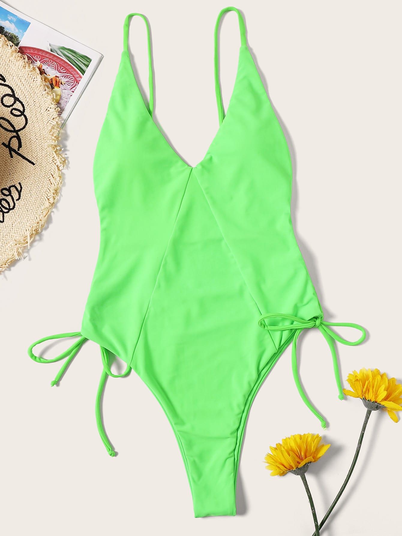 Фото - Неоновый слитный купальник на шнуровке с открытой спинкой от SheIn зеленого цвета