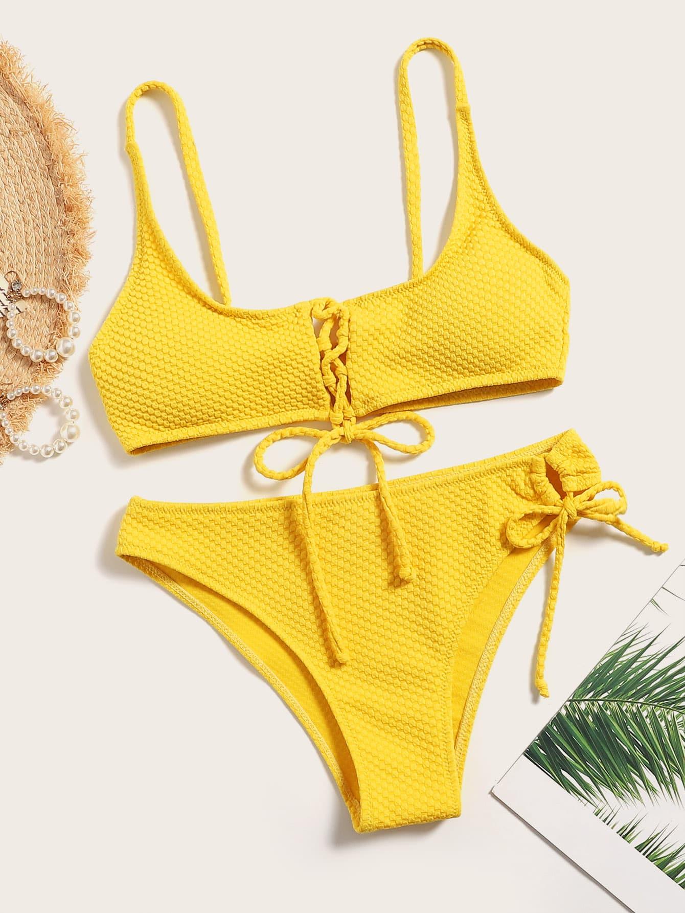 Фото - Однотонный комплект бикини на шнуровке от SheIn желтого цвета