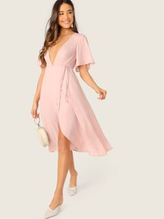 Plunge Neck Bell Sleeve Wrap Dress