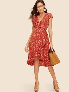 60s Botanical Print Ruffle Trim Wrap Dress