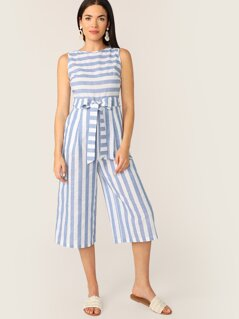 Slant Pocket Sleeveless Striped Belted Jumpsuit