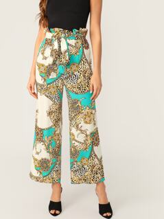 Paperbag Waist Scroll & Leopard Print Wide Leg Pants