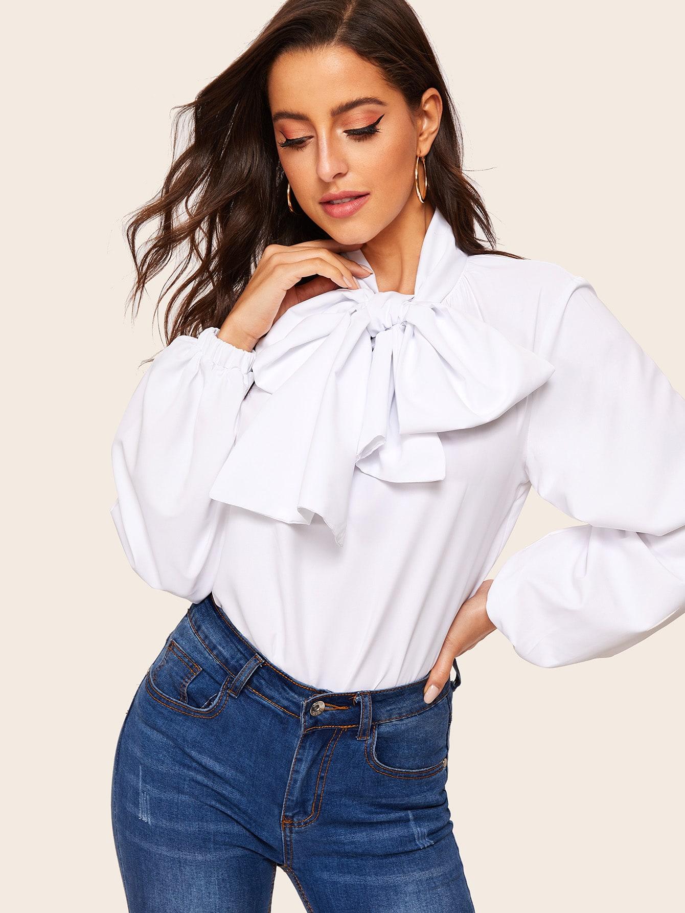 Купить Блуза с завязкой на шее и оригинальным рукавом, Mary P., SheIn