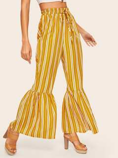 Vertical Stripe Ruffle Hem Pants