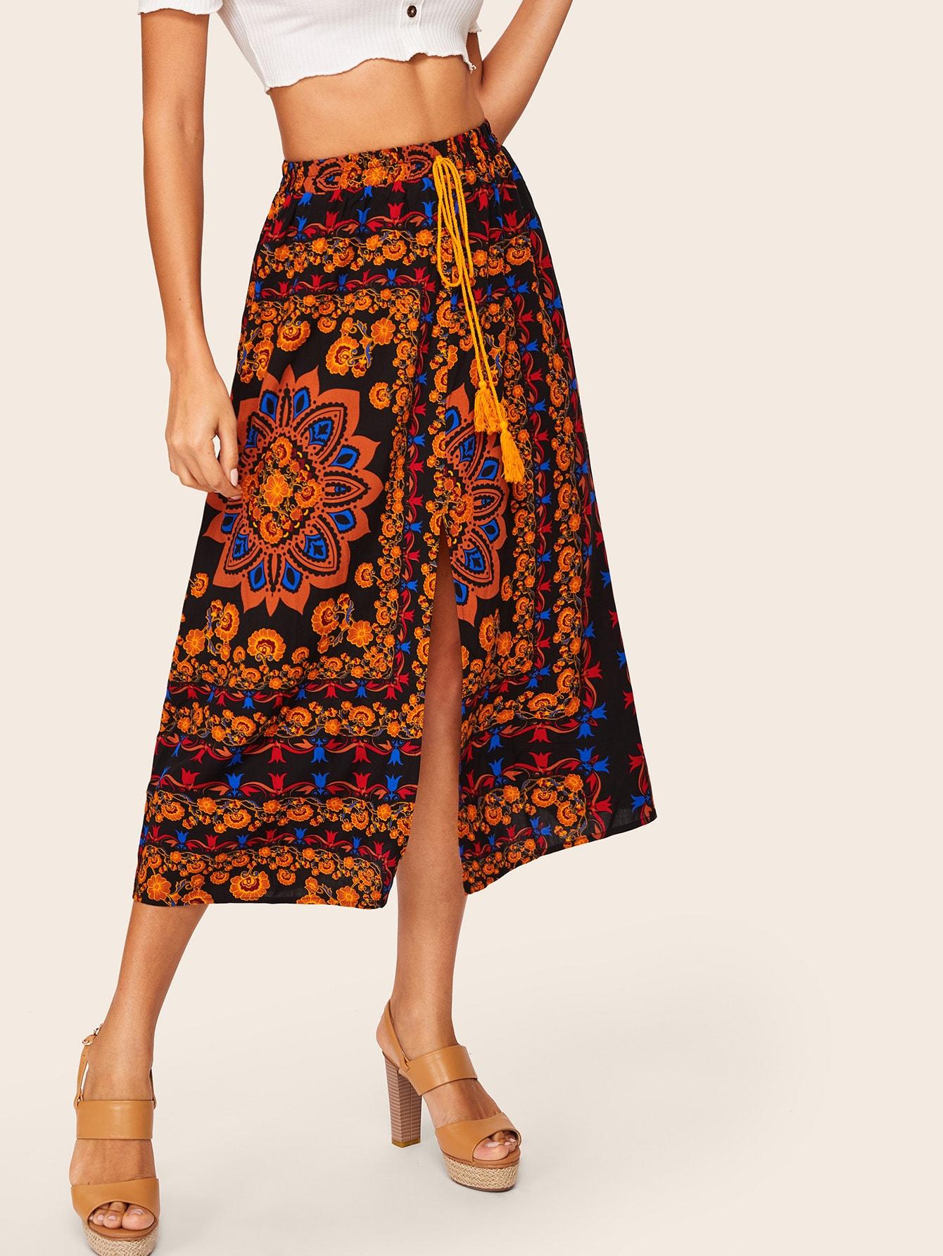 Купить Цветочная юбка с разрезом, Mary P., SheIn