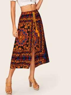 Floral Scarf Print Slit Skirt