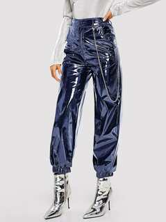 Elastic Hem Patent Look Pants With Chain