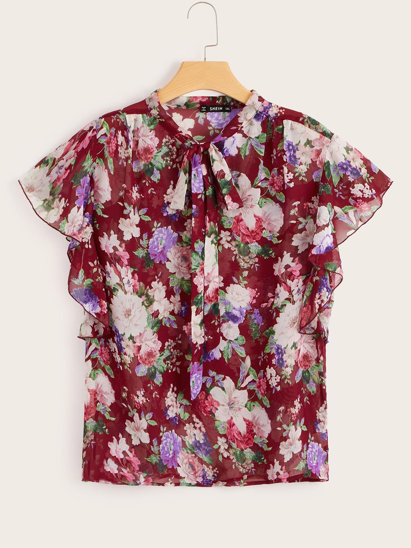 Купить Размера плюс цветочная блуза с завязкой на шее и оригинальным рукавом, null, SheIn