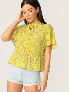 Frilled Tie Neck Ditsy Floral Tea Top