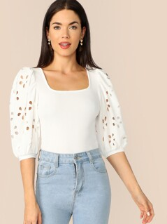 Laser Cut Lantern Sleeve Square Neck Top