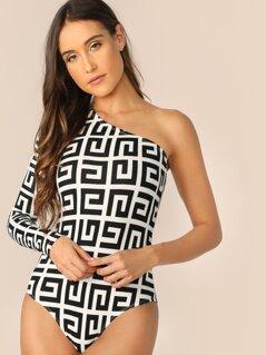 One Shoulder Greek Print Skinny Bodysuit