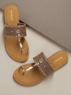 Toe Band Woven Stitch Band Slide Sandals