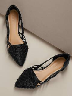 Pointed Toe Open Sides Huarache Style Ballet Flats