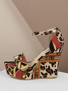 Leopard Mix Print Buckle Strap Platform Wedges