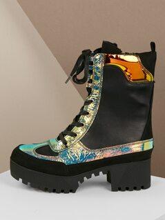 Platform Luge Sole Lace Front Iridescent Boots