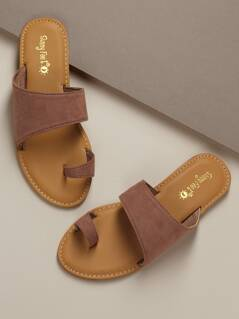 Toe Band Wide Strap Flat Slide Sandals