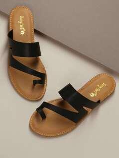 Asymmetric Toe Loop Slide Flat Sandals