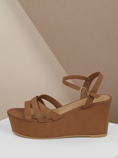 Strappy Band Open Toe Platform Wedges
