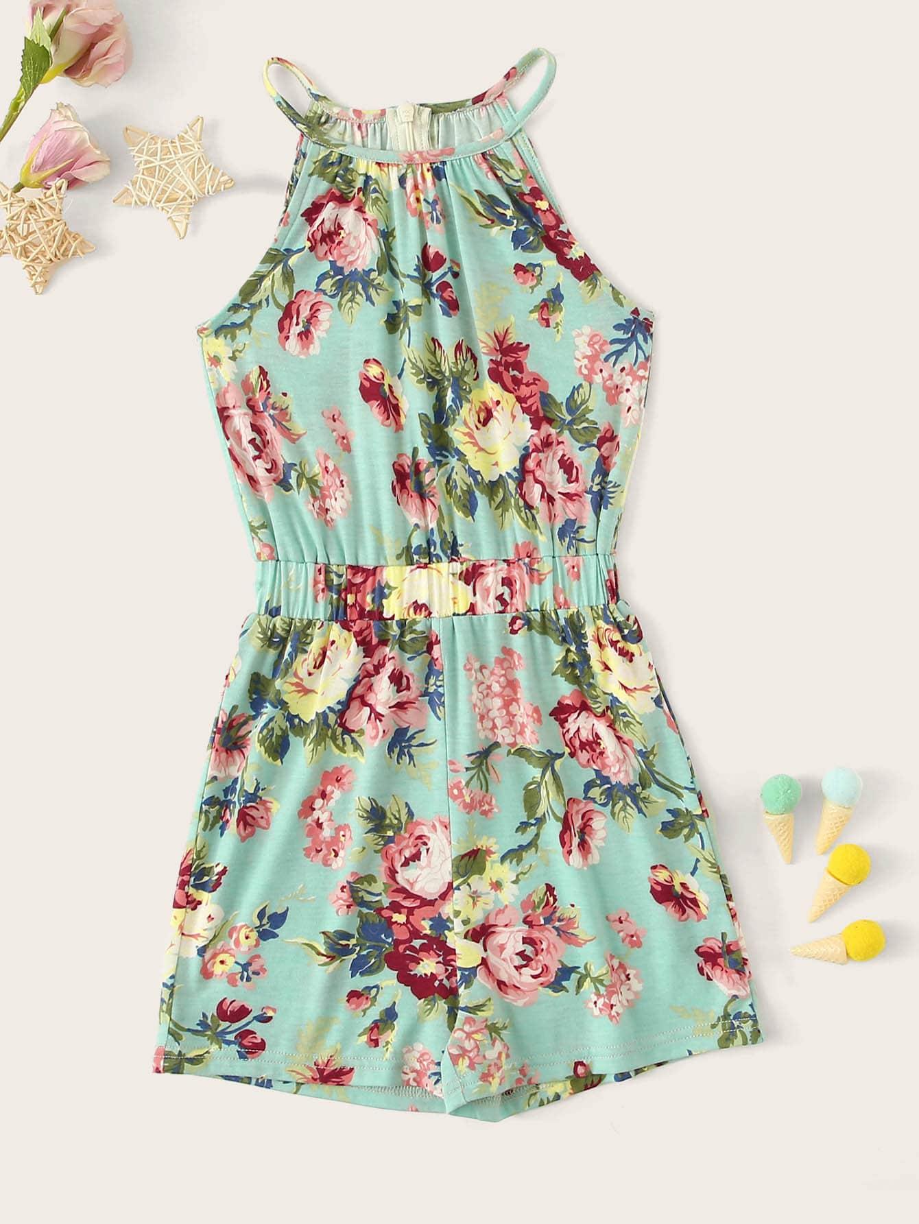 Фото - Цветочный широкий комбинезон для девочек от SheIn цвет многоцветный