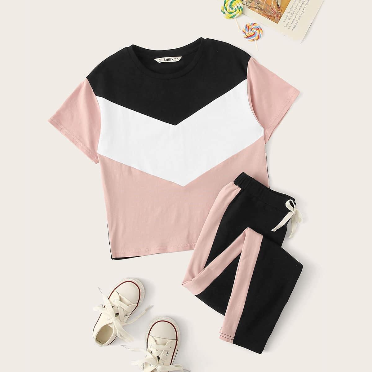 Контрастный топ и брюки с кулиской на талии для девочек от SHEIN