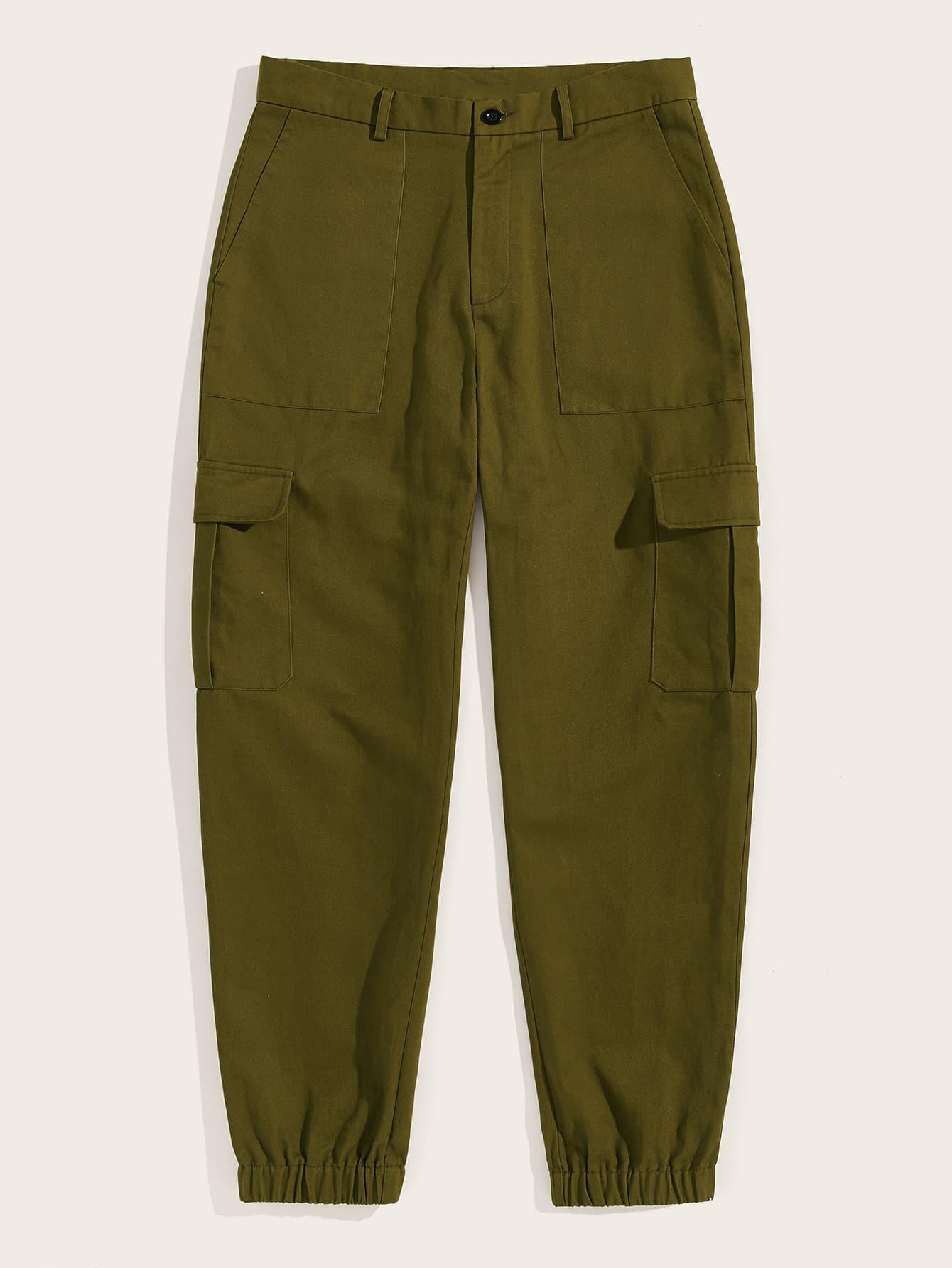Фото - Мужские однотонные брюки с карманами и эластичным низом от SheIn цвет цветахаки