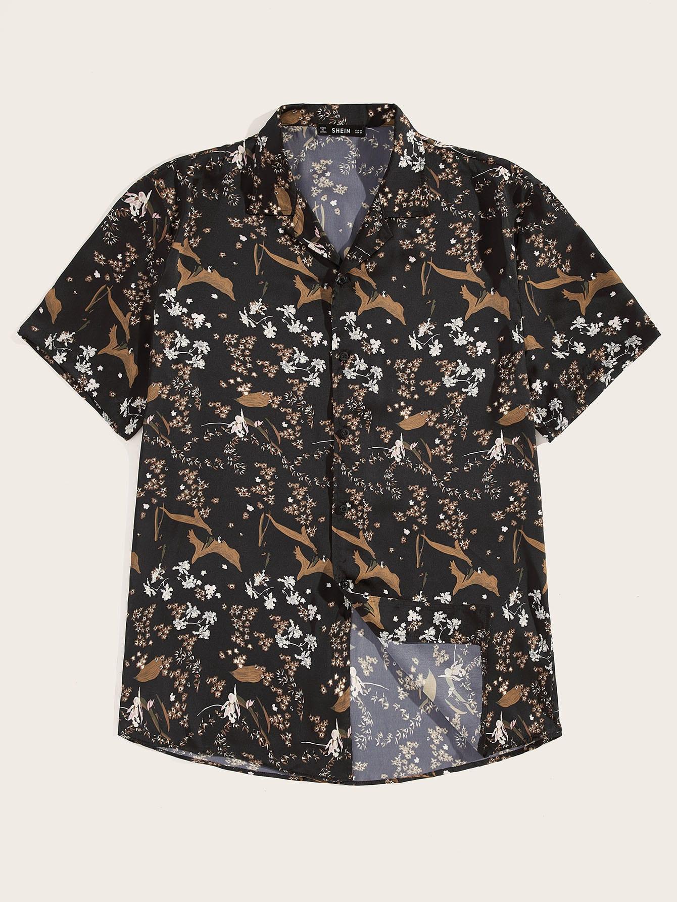 Фото - Мужская однобортная рубашка с графическим принтом от SheIn цвет многоцветный