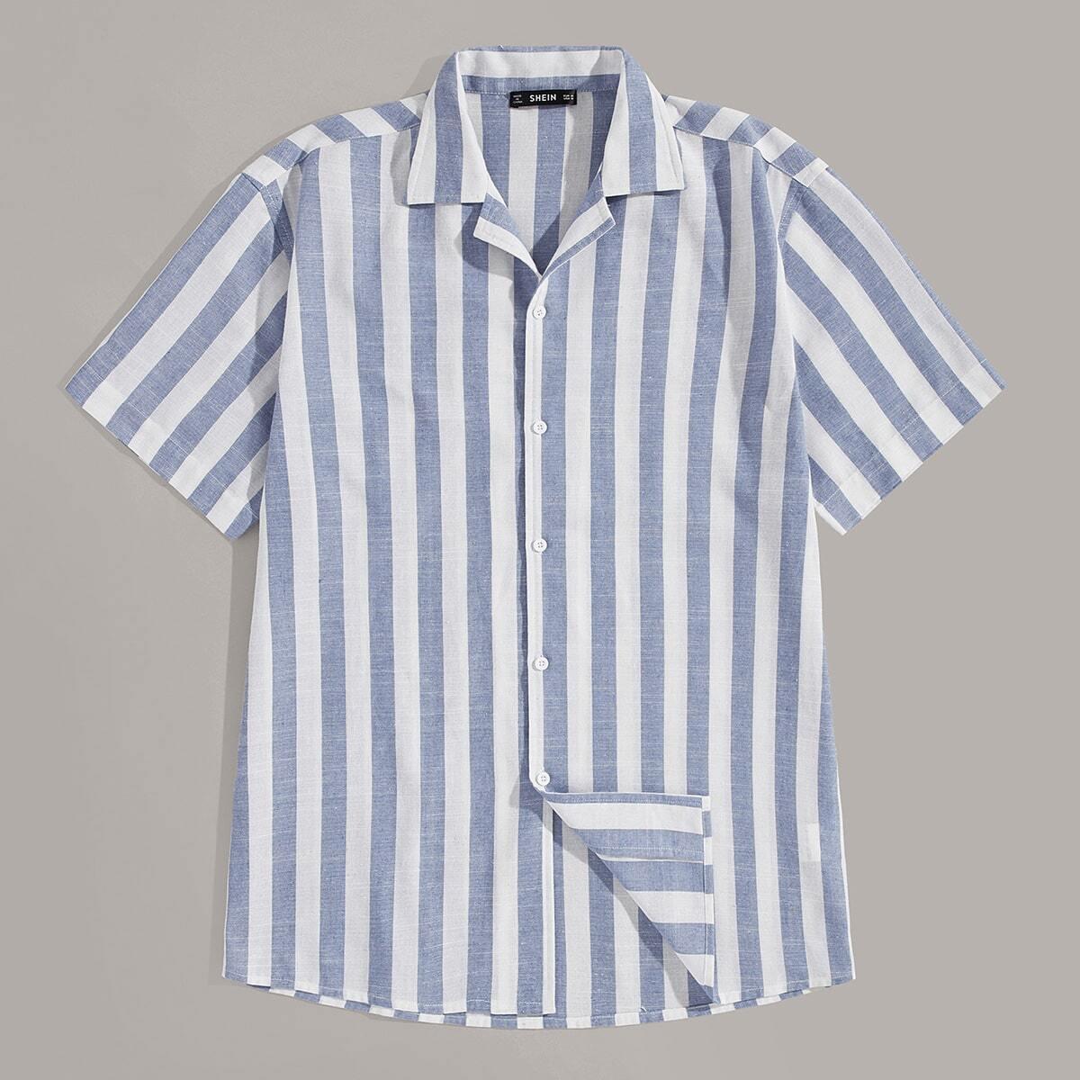 Veel kleurig Casual Gestreept Overhemden voor heren Knoop