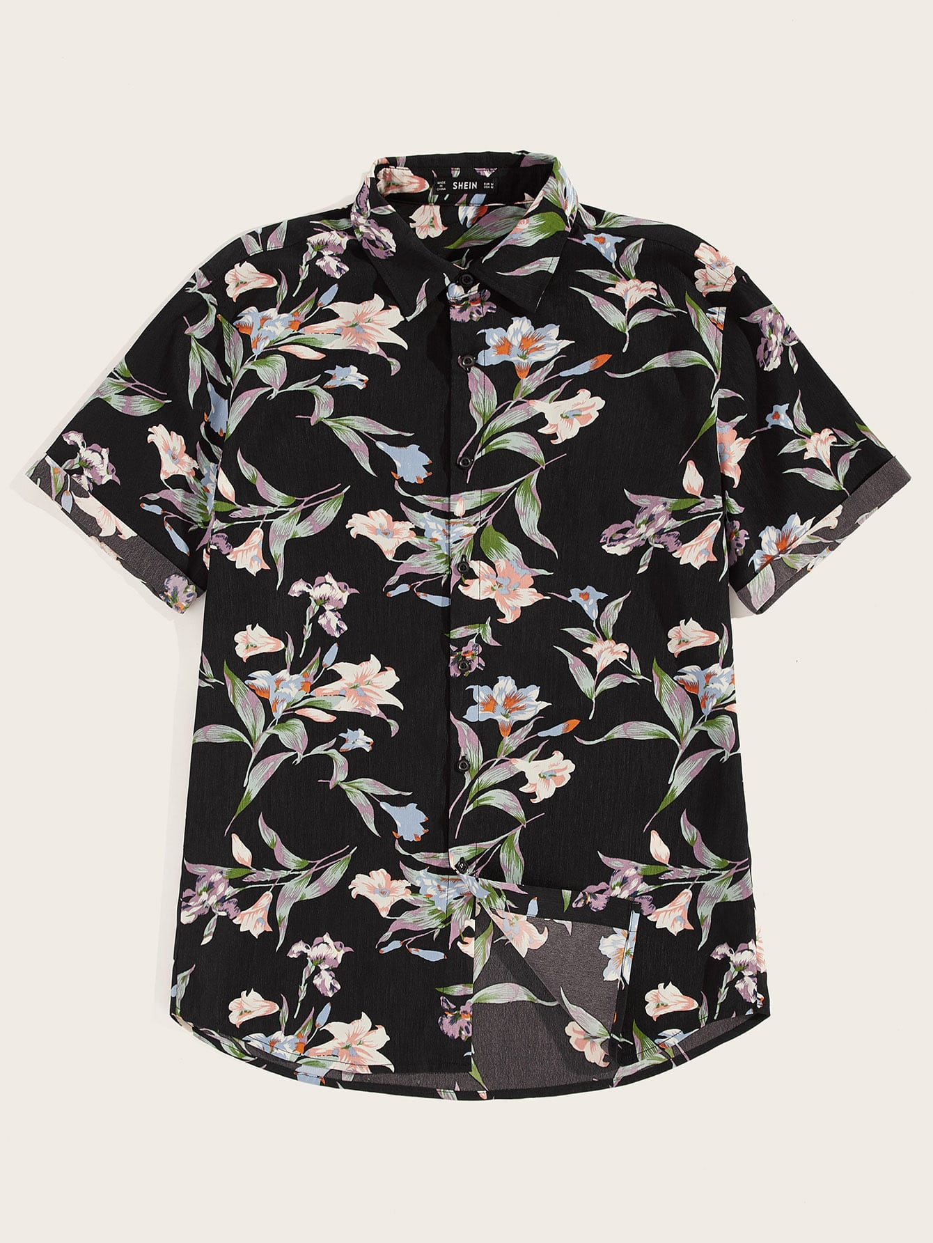 Фото - Мужская однобортная цветочная рубашка от SheIn цвет многоцветный