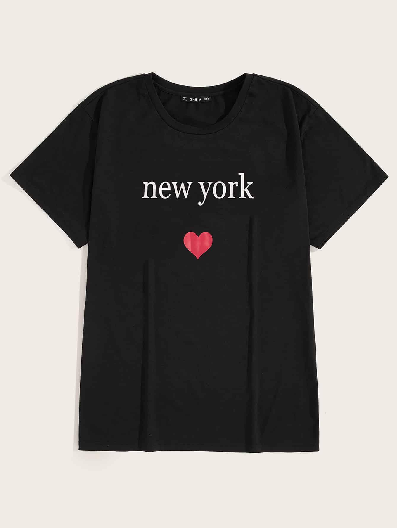 Фото - Мужская футболка с принтом текстовым и сердцей от SheIn черного цвета