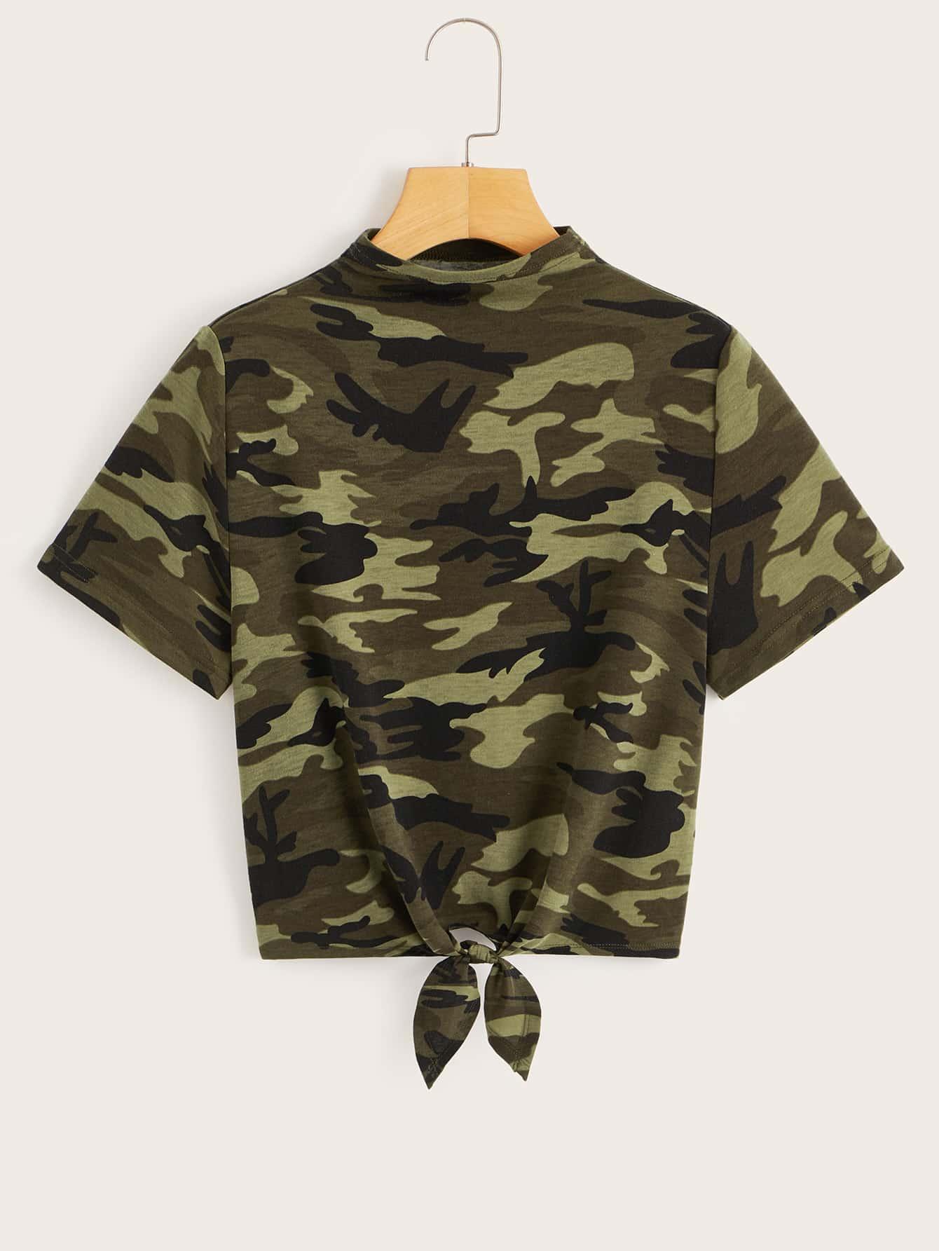 Фото - Камуфляжная футболка с поясом и стоячим воротником от SheIn цвет многихцветный