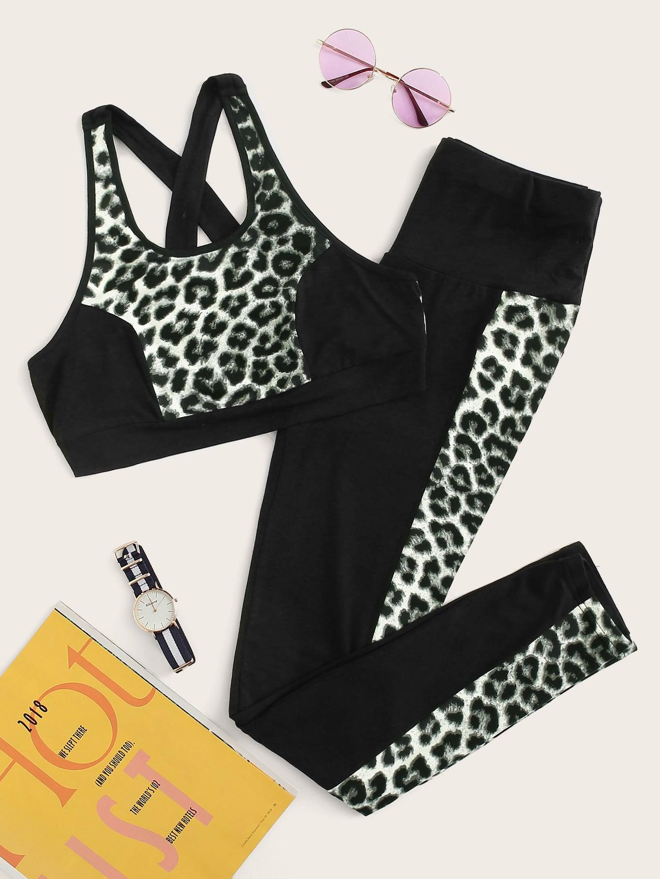 Фото - Леопардовый топ и брюки с широкой талией от SheIn черного цвета