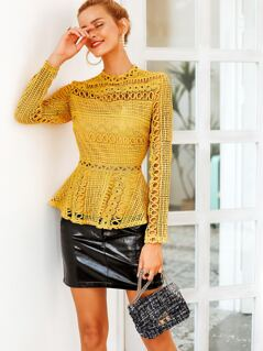 Simplee Mock-neck Zip Back Lace Peplum Top