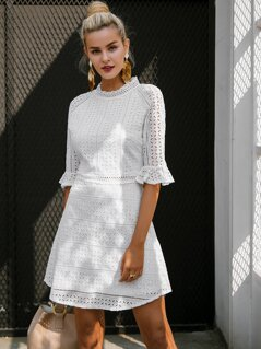 Simplee Mock-Neck Flounce Sleeve Schiffy Dress