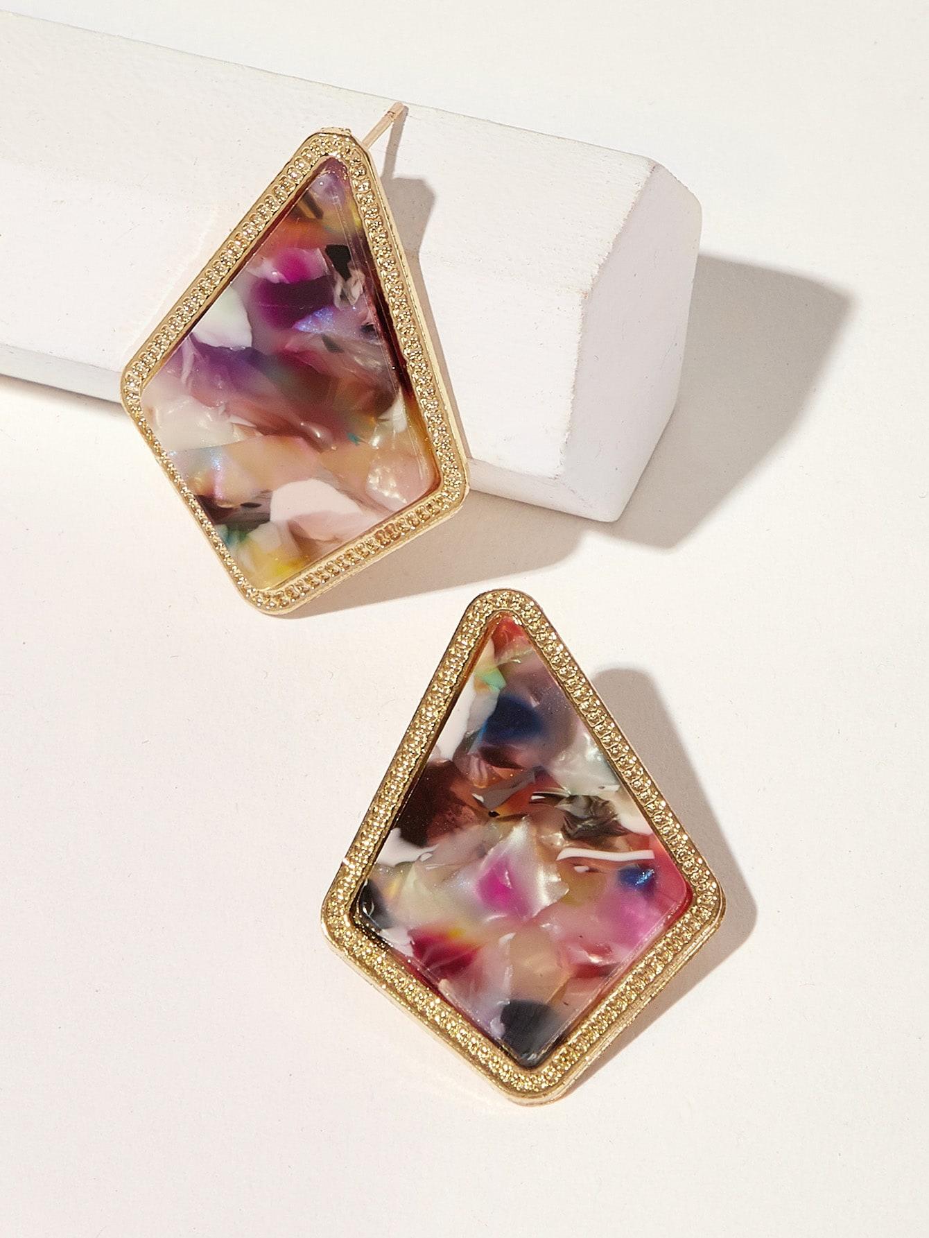 Фото - Серьги-гвоздики с мраморным узором 1 пара от SheIn цвет многоцветный