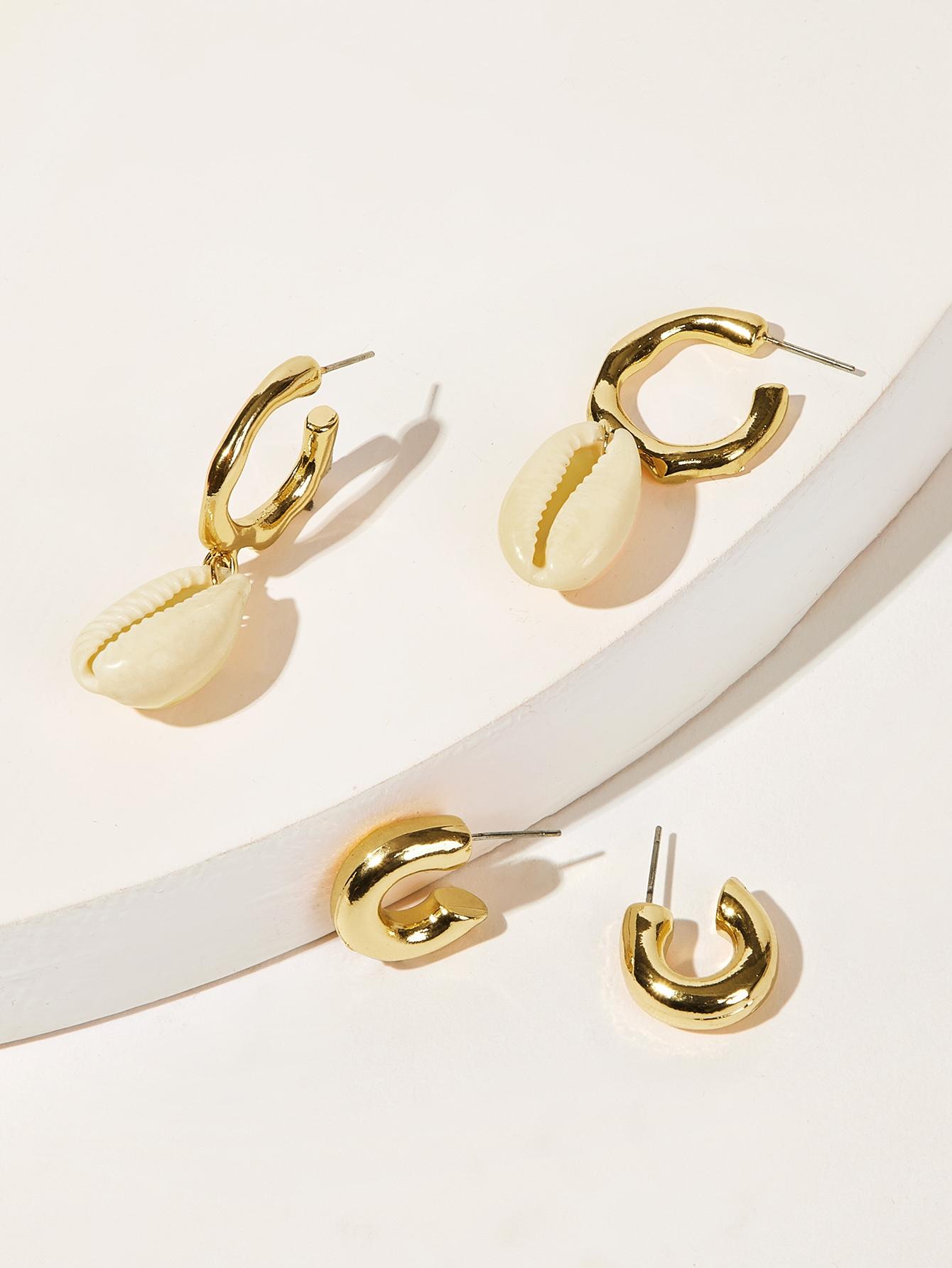 Фото - Серьги-кольца с ракушкой 2 пары от SheIn цвет золотые