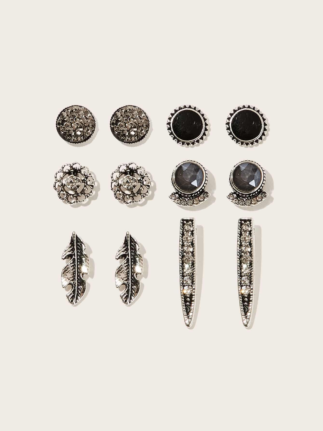 Фото - Серьги-гвоздики со стразами 6 пар от SheIn цвет серебряные