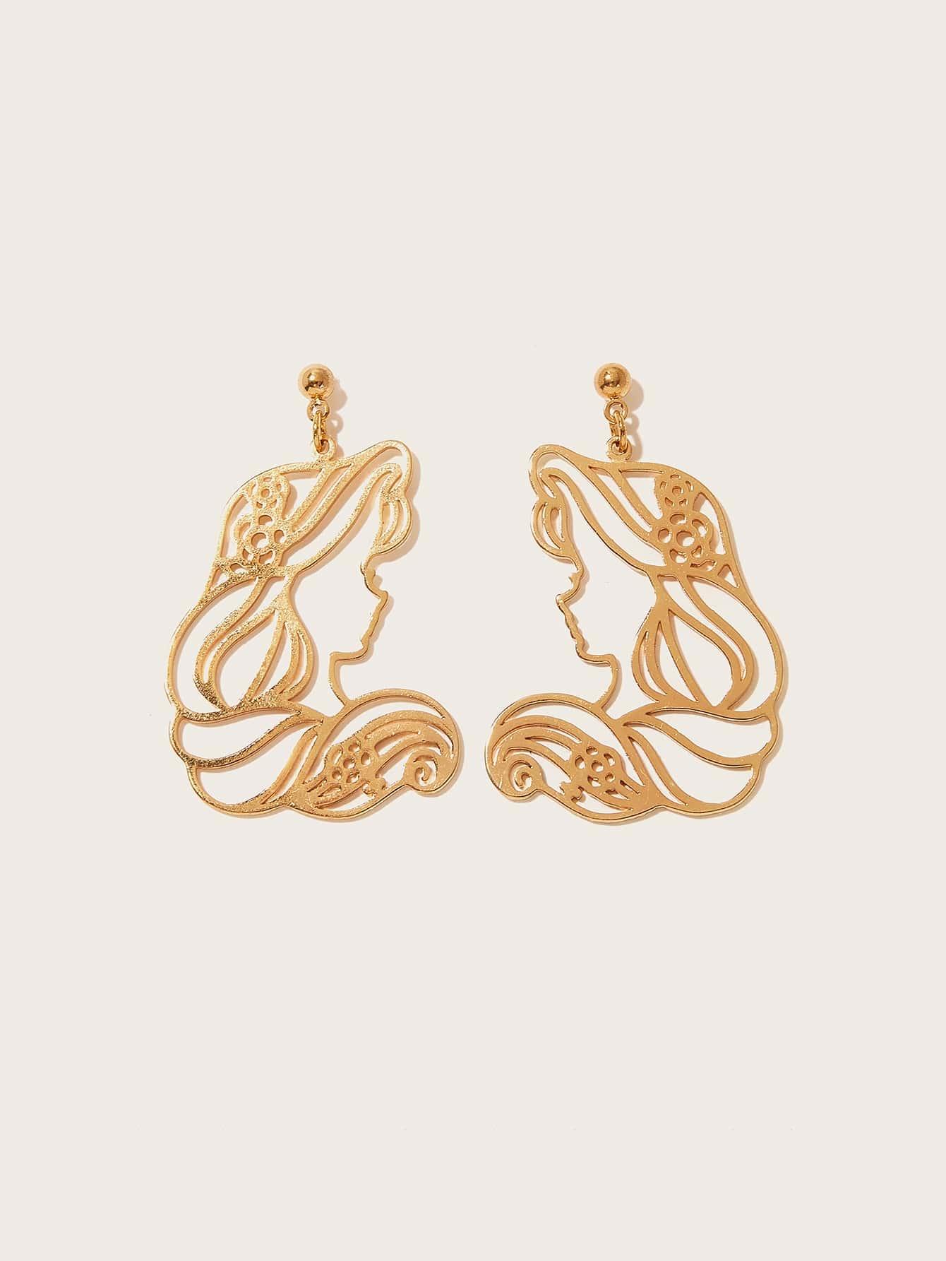 Фото - Серьги-подвески с кулоном в форме фигурки 1 пара от SheIn цвет золотые