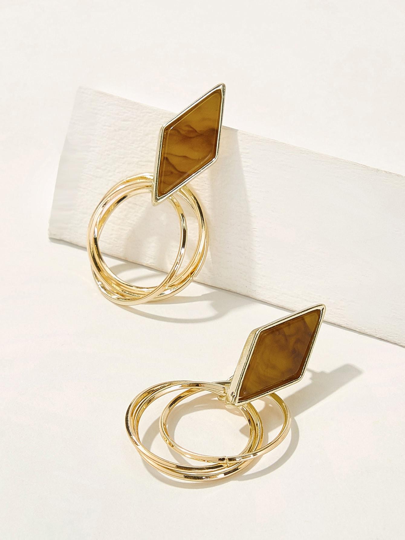 Фото - Многослойные серьги-капли с геометрическими деталями 1 пара от SheIn цвет золотые