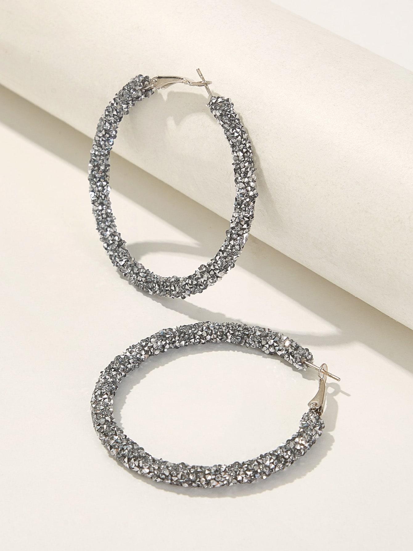 Фото - Блестящие серьги-кольца 1 пара от SheIn цвет серебряные