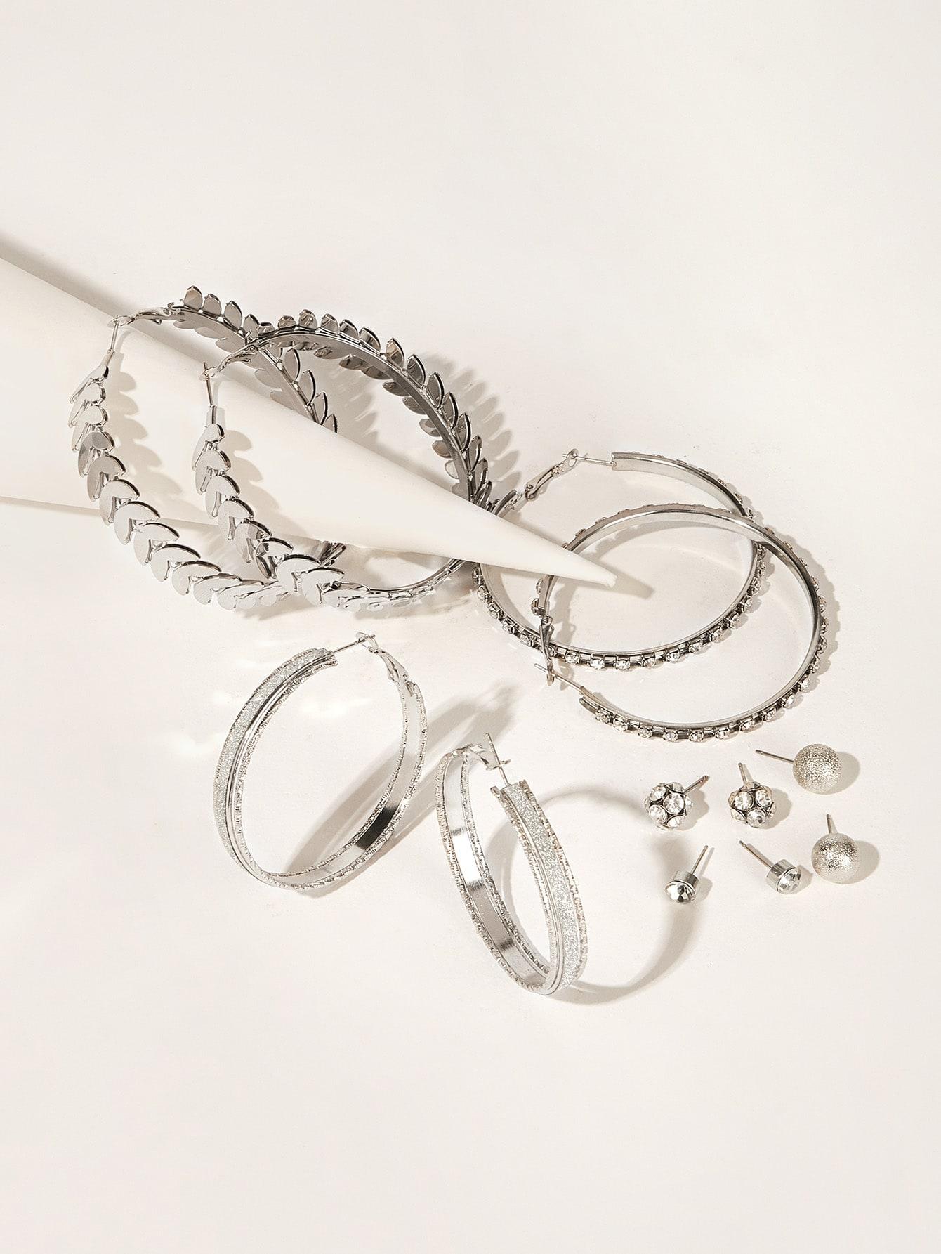 Фото - Серьги-кольца и серьги-гвоздики 6 пар от SheIn цвет серебряные