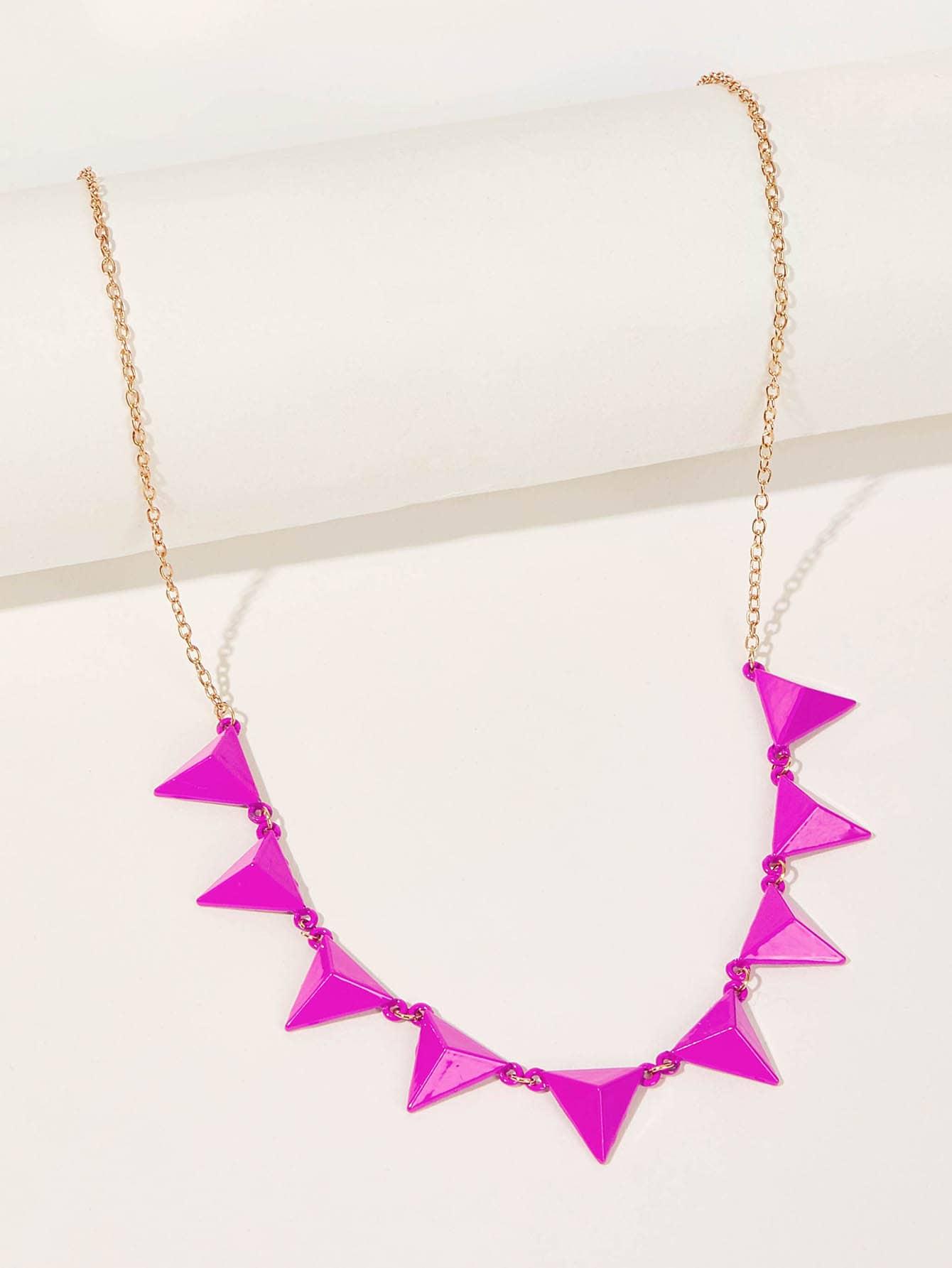 Фото - Цепное ожерелье с треугольным кулоном 1шт от SheIn цвет многоцветный