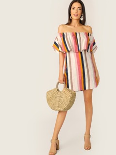 Off Shoulder Ruffle Overlay Stripe Shift Dress