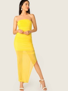 Strapless Shirred Side Mesh Side Slit Maxi Dress