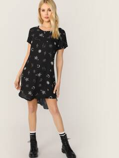 Short Sleeve Space Print Boxy Fit Shirt Dress